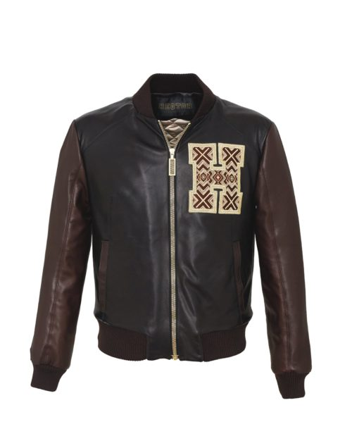 Baseballjacket Eyecatcher Black & Coffee Leather & Leather