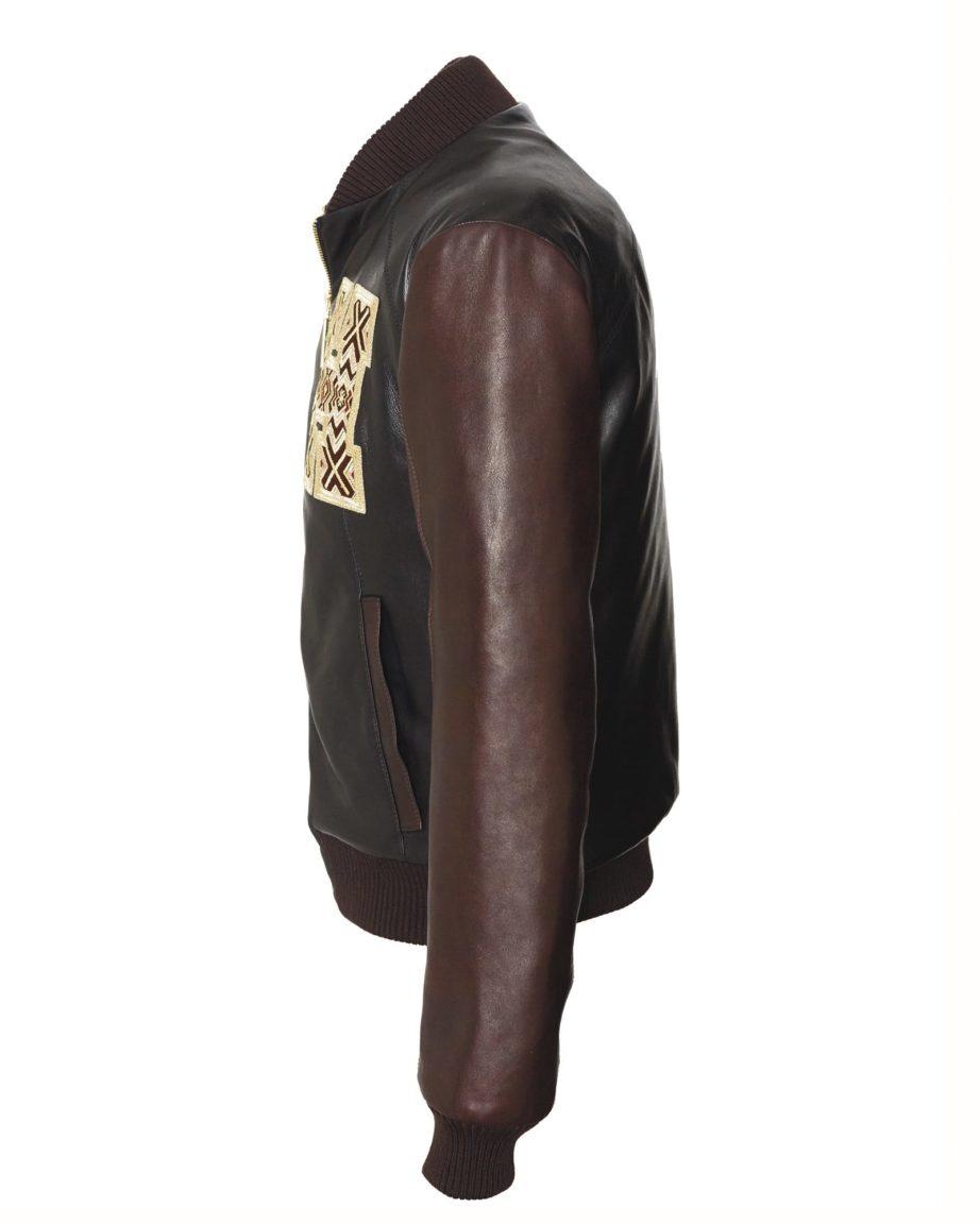 Baseballjacket Eyecatcher Black & Coffee Leather & Leather