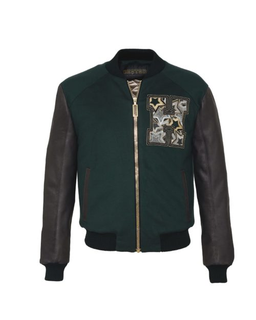 HEQTOR Baseballjacket Starstriker Racing Green & Black Leather & Cashmere
