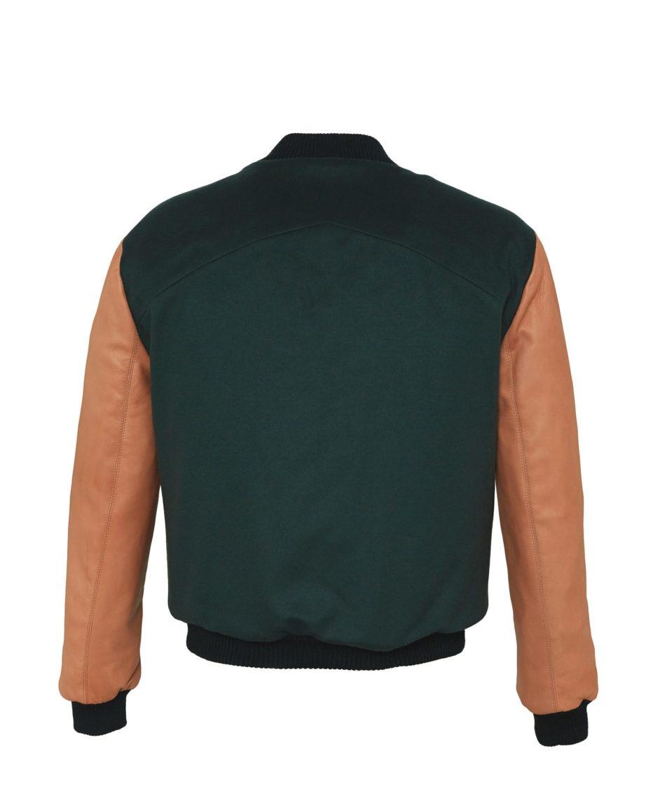 HEQTOR Baseballjacket Starstriker Racing Green & Caramel Leather & Cashmere
