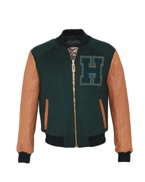 HEQTOR Baseballjacket Starstriker Racing Green & Caramel Leather & Cashmere