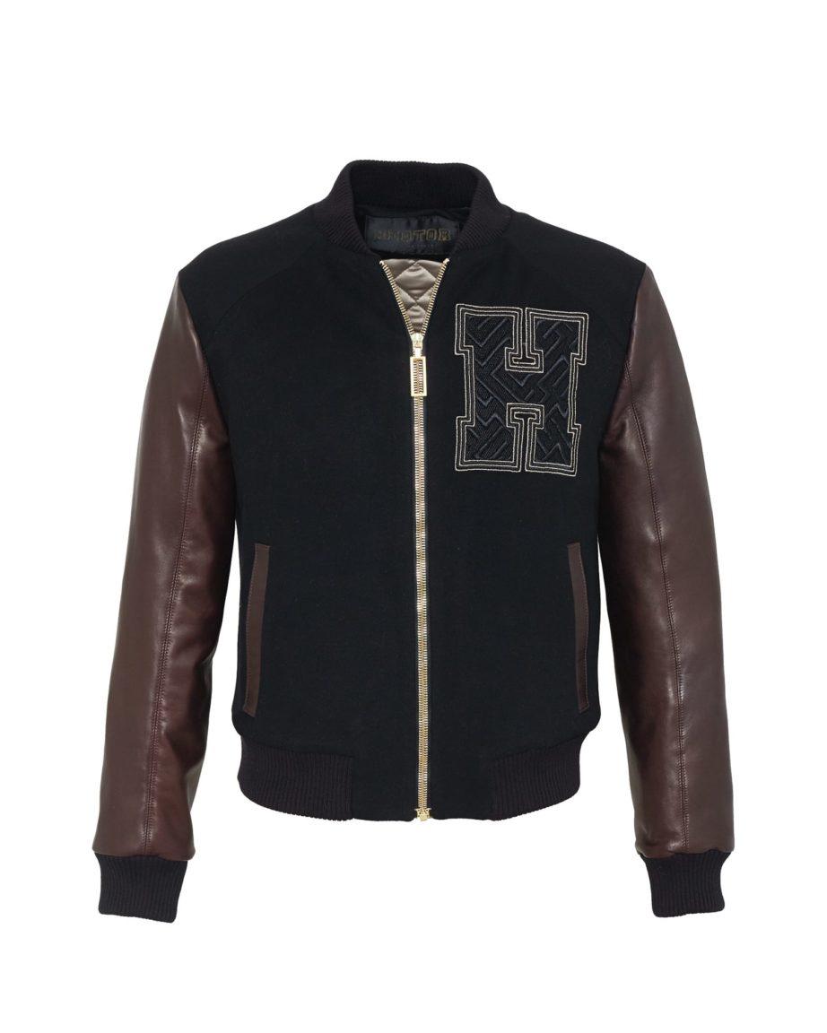 Baseballjacket Amazeballer Black & Coffee Leather & Cashmere