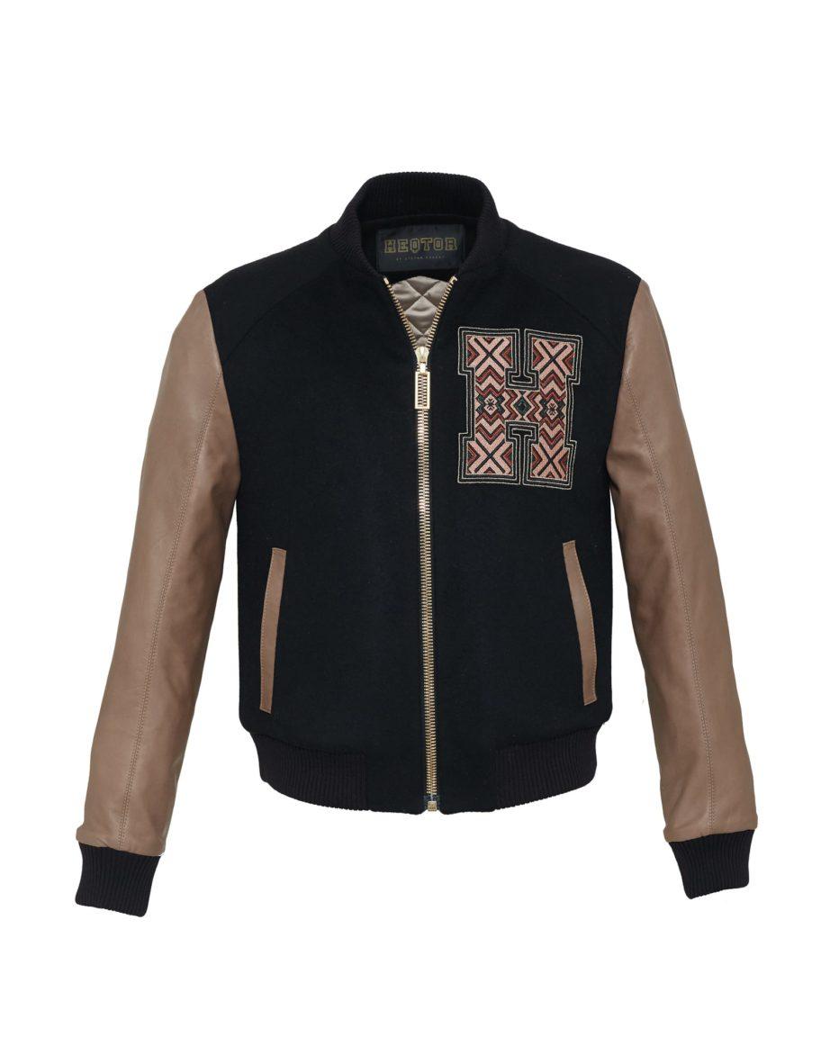 Baseballjacket Eyecatcher Black & Taupe Cashmere & Leather