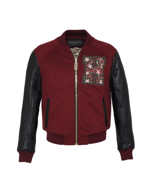 Baseballjacket Starstriker Bordeaux & Black Cashmere & Leather