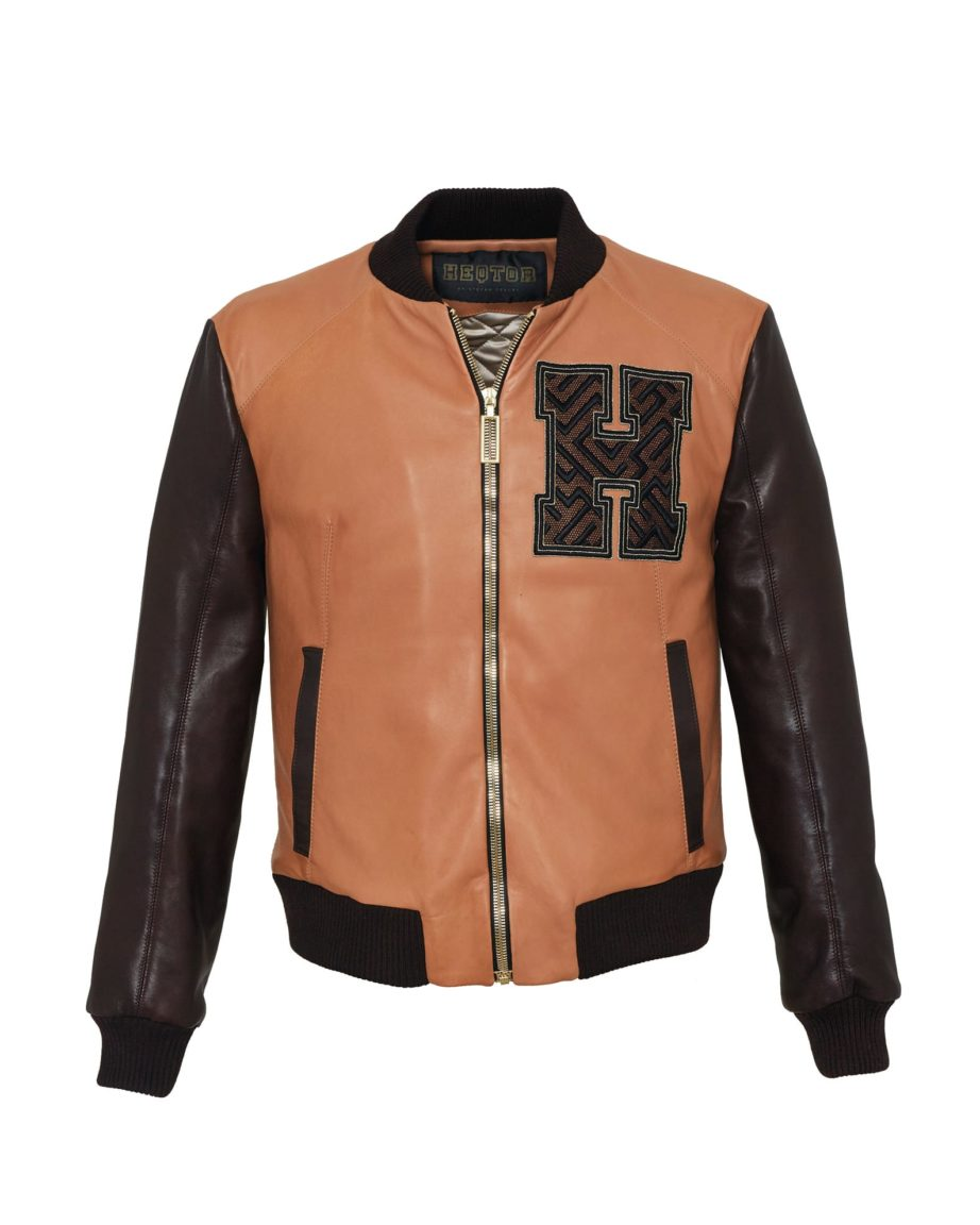 HEQTOR Baseballjacket Amazeballer Caramel & Coffee Leather & Leather