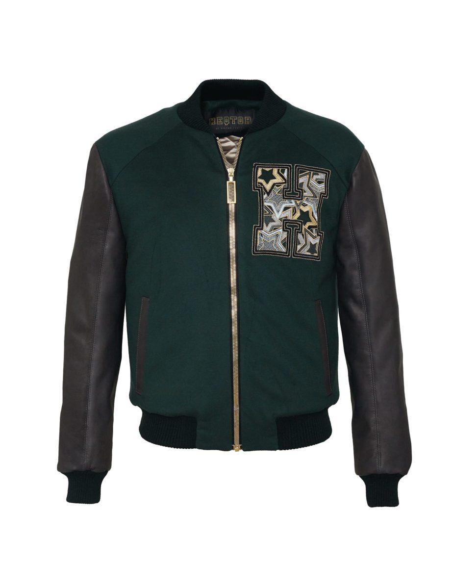 HEQTOR Baseballjacket Starstriker Racing Green & Black Leather & Cashmere